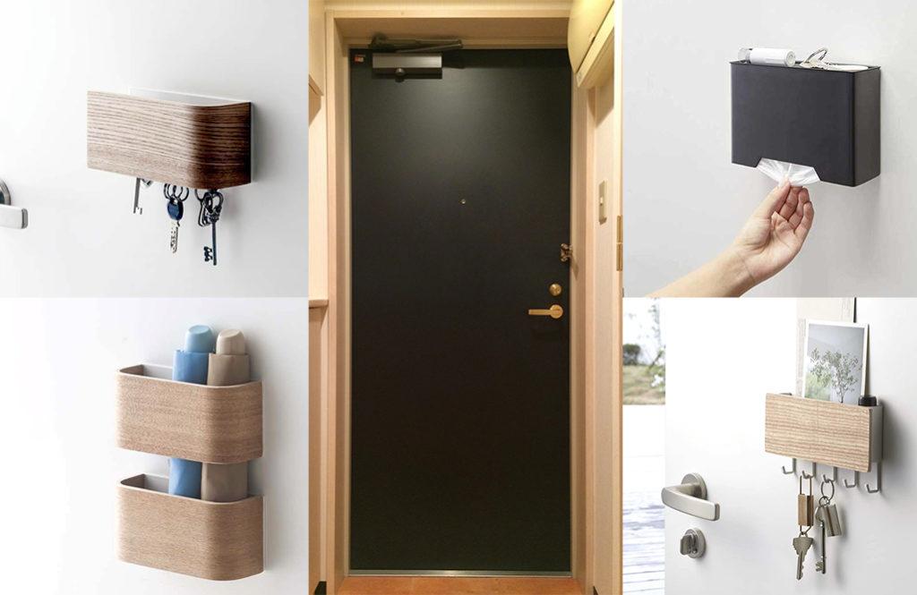 玄関ドアに「山崎実業のマグネット収納」を使って、見た目すっきり収納力アップ!