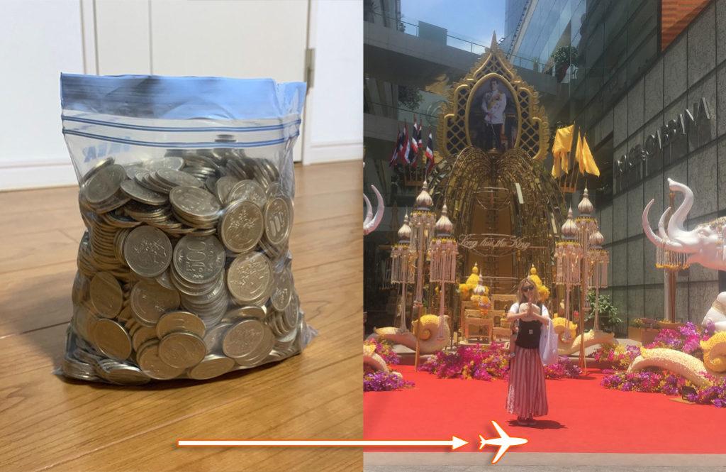 地味にたまると噂の「500円玉貯金」が大成功。100万円たまって海外旅行へ!